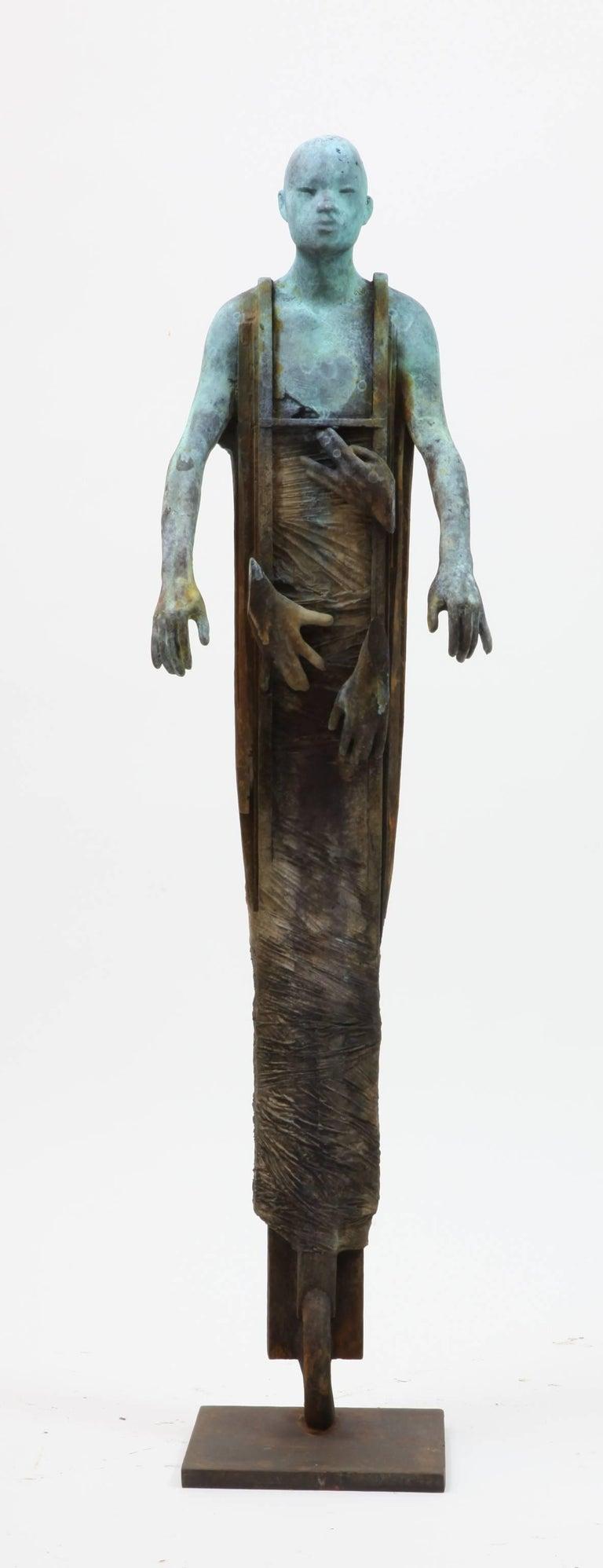 Jesus Curia Perez Figurative Sculpture - Centauro - Cast Bronze Figure Geometric and Organic Elements by Jesús Curiá