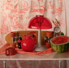 Square Red Still Life - Original Oil Painting with Skateboard and Mixed Objects