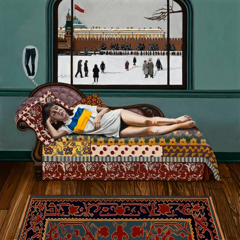 Inspired by a trip to Moscow in 1984 this strange painting captures a layered scene which includes a woman napping on a settee, an outdoor scene with people walking through snow, and The Kremlin in Moscow.  Beth Foley's memory of the time recalls