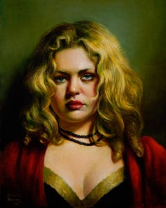 Jessica - Young Woman in Red, Black an Gold Stares at Viewer, Oil Painting