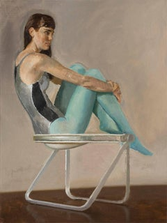 Lily in Blue Tights on Pluff Chair - Oil Painting Figure and Vintage Chair Study