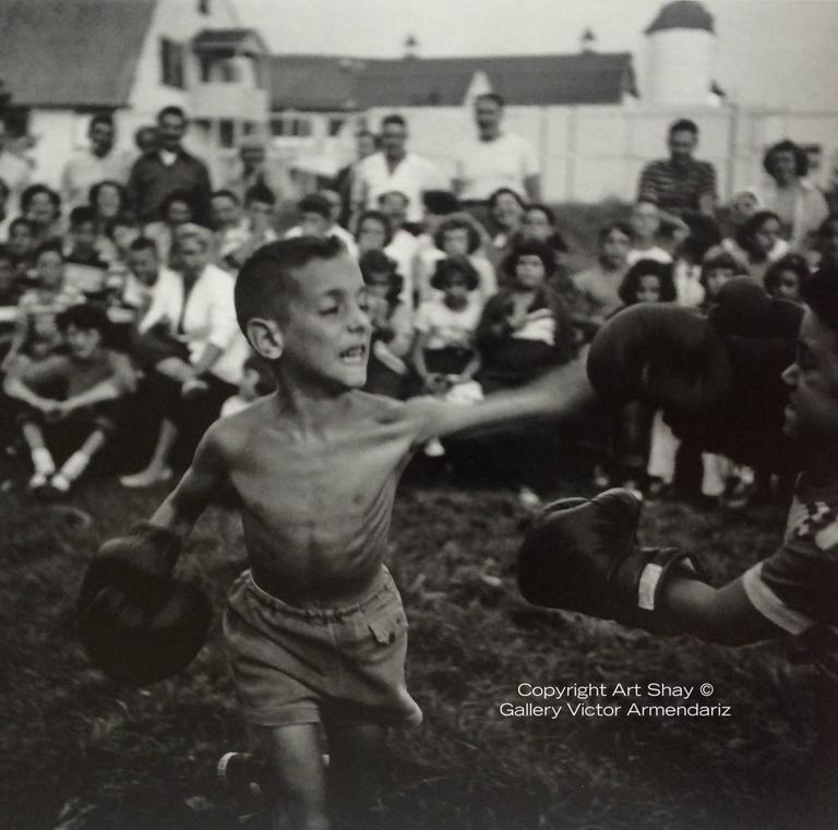 Art Shay Black and White Photograph - Kid Boxing, 1952