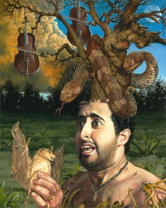 The Duet -Original Oil Surreal Painting of Man with Tree Growing Out of His Head