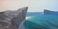 The Dialogue, Surrealist Landscape with Aqua Blue Ocean and Rocky Cliffs, Framed