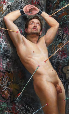 Paradox of St. Sebastian - Contemporary Oil Painting with Graffiti and Shackles