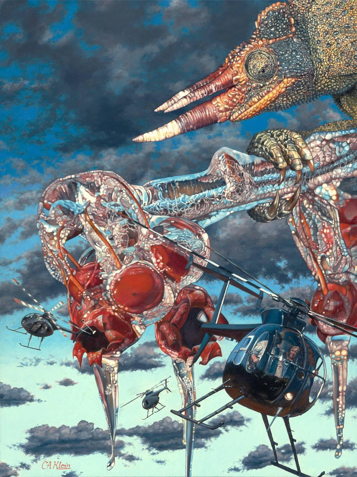 Heli Hatchlings, Surreal Oil Painting - Giant Chameleons Crab Apples Helicopter
