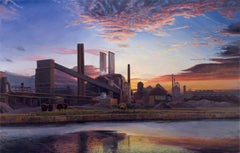 American Landscape - Iconic American Steel Mill Bathed in Orange Sunset Light