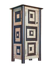 One Door Housetop Quilt Cupboard - Gee's Bend Inspired Steel Furniture