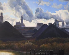 Protected Area, Steaming Smoke Stacks, Industrial Buildings & Coal, Oil on Panel
