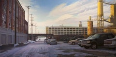 Double Overtime Shift, Urban Industrial Landscape, Contemporary Realist Painting