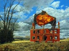 Amber Waves - Bat Holding Amber Encased Human Floats Above Dystopian Farmland
