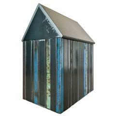 Structure #47, Multicolor Striped House Steel Sculpture