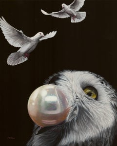 Wisdom of Peace - Wise Owl, Pearl of Wisdom, and Peace Doves, Oil Painting