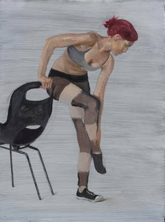Courtney Standing on One Foot, (study for Motion Capture 6) - Original Oil Paint