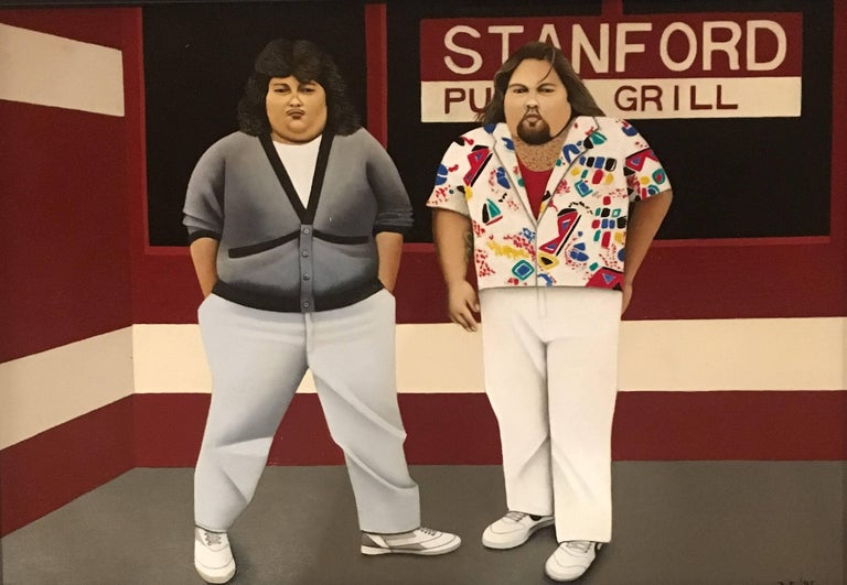 Beth Foley Figurative Painting - Waiting for Botero, Two Portly Male Figures at a Restaurant, Oil on Panel