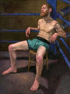 Pyrrhus - Original Oil Painting of a Fighter in Shorts Sitting in the Ring