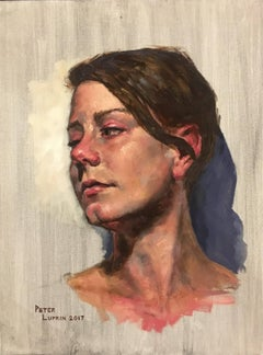 Untitled, Portrait of a Female Gazing Over Her Shoulder, Original Oil on Canvas