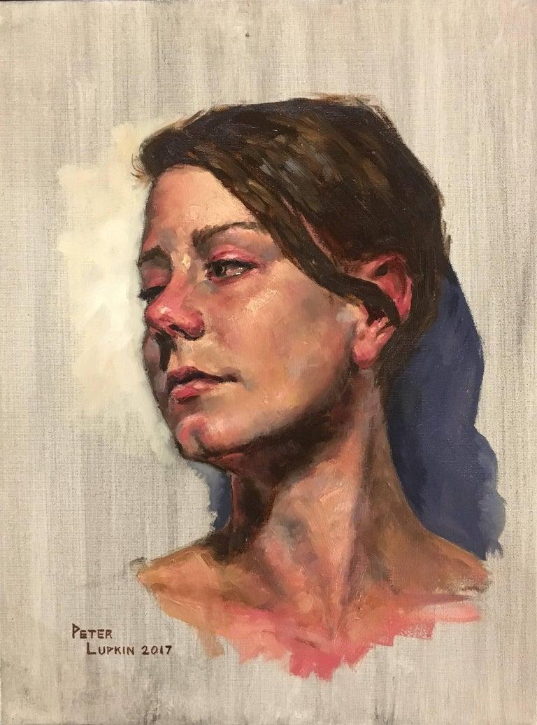 Untitled, Portrait of a Female Gazing Over Her Shoulder, Original Oil on Canvas 1