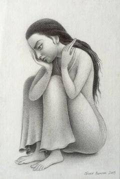 Despondent Maiden, Female Figure, Highly Detailed Pencil Drawing, Framed