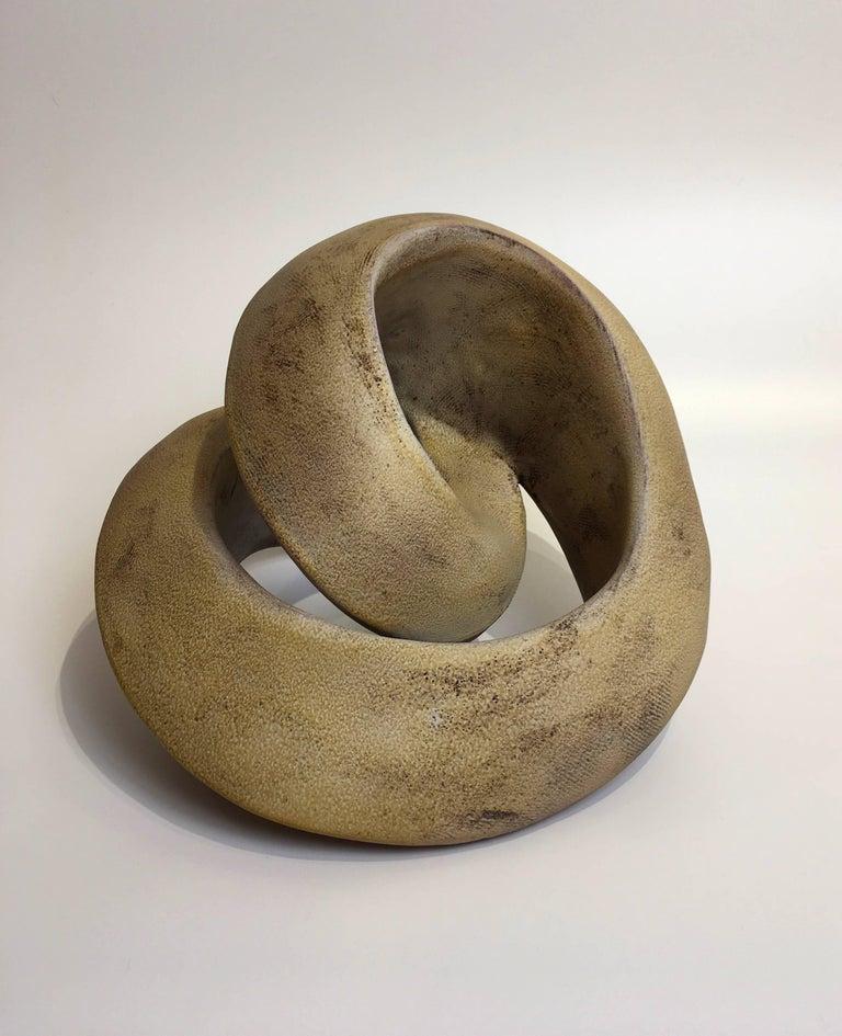 Jerilyn Virden Abstract Sculpture - Amber Recoil, Abstract Geometric Ceramic Sculpture