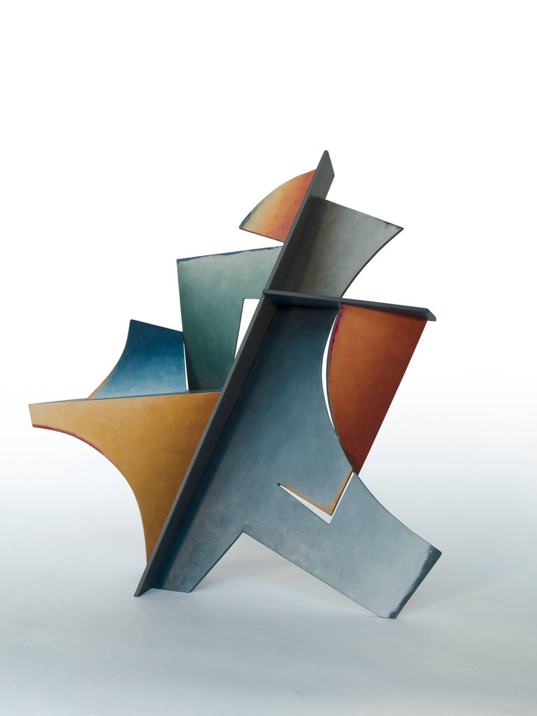 Chris Hill Abstract Sculpture - Nightfall - Hand Painted Welded Steel Sculpture Abstract Geometric Form