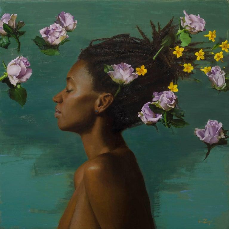 Michael Van Zeyl Portrait Painting - Silverstone Yellow Jasmine - Original Oil Painting of Woman and Floating Flowers