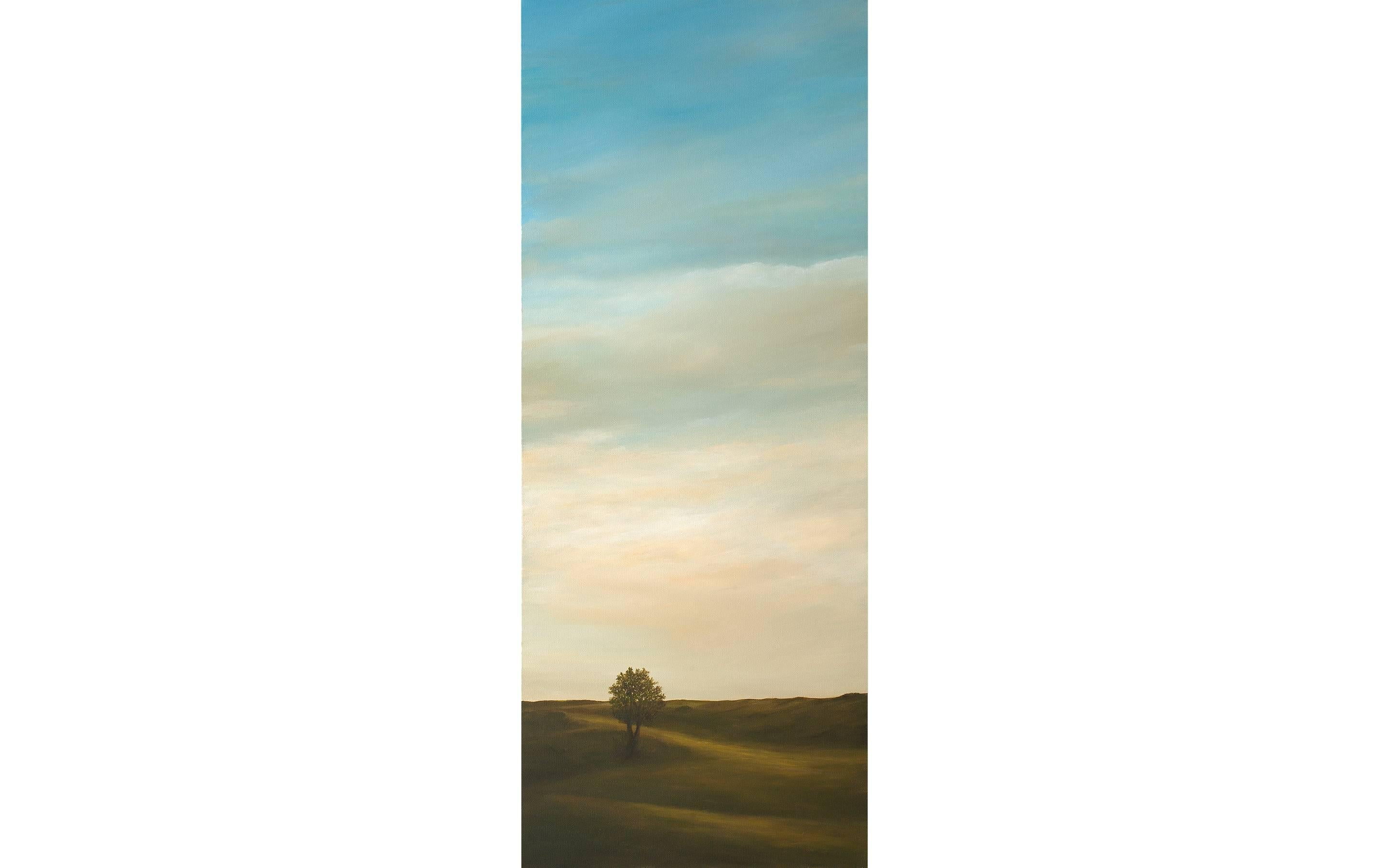 The Promise of Autumn, Serene Landscape with Lone Tree and Vast Sky, Framed