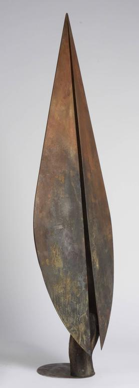 Milenium I - Bronze and Steel Sculpture, Tall Vertical Figure with Wings For Sale 1