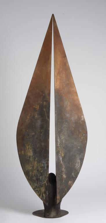 Milenium I - Bronze and Steel Sculpture, Tall Vertical Figure with Wings For Sale 2