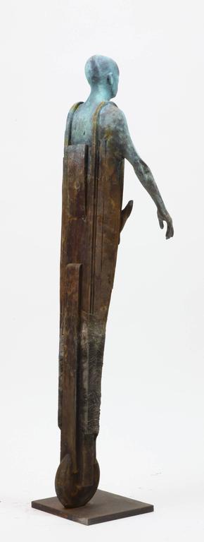 Centauro - Cast Bronze Figure Geometric and Organic Elements by Jesús Curiá - Gold Figurative Sculpture by Jesus Curia Perez