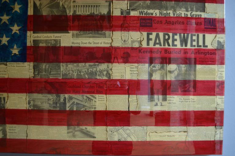 JFK Farewell - Kennedy Assassination Original Vintage Newsprint Collage Painting - Pop Art Photograph by Patrick Burns