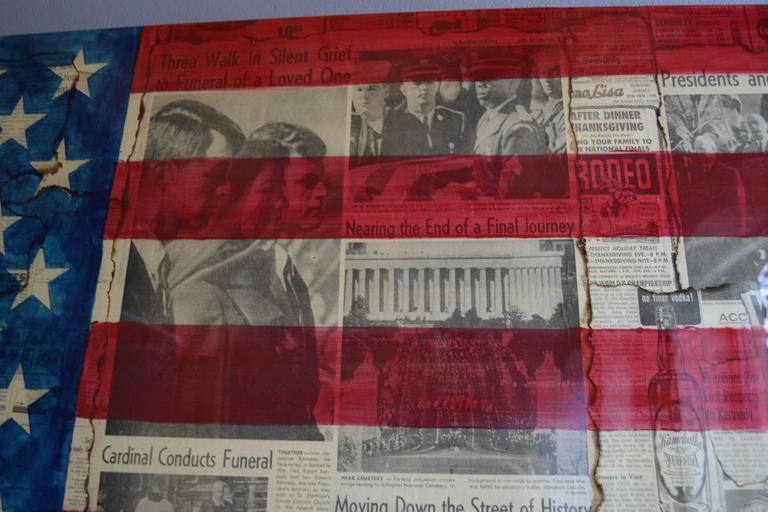 JFK Farewell - Kennedy Assassination Original Vintage Newsprint Collage Painting For Sale 1