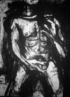 Grip, Male Nude Selfie, Charcoal on Paper, Framed
