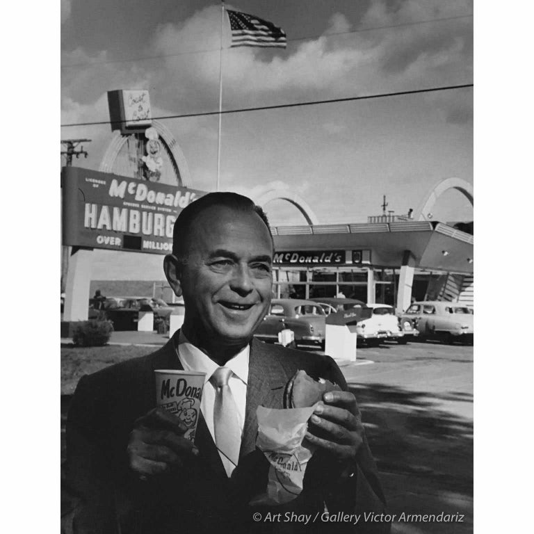 Art Shay Black and White Photograph - Smiling Ray Kroc, 1965