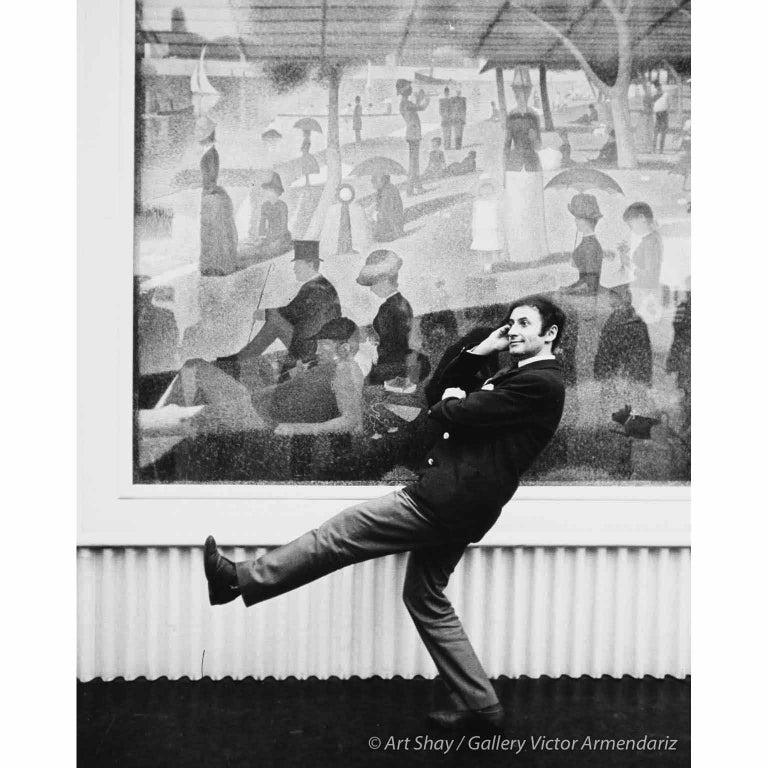Art Shay Black and White Photograph - Seurat's A La Grande Jatte with Marcel Marceau, Chicago, 1958