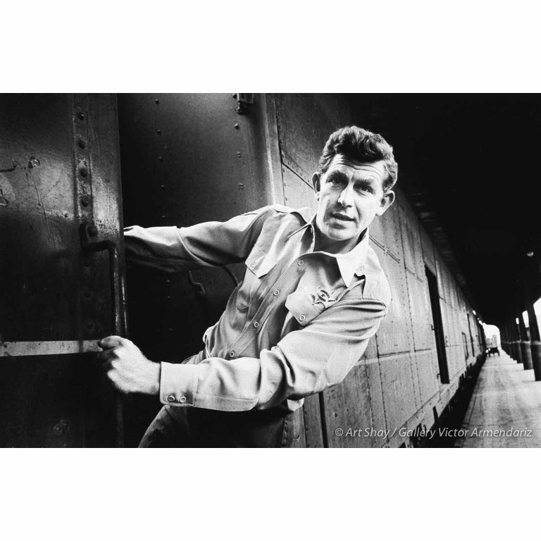 Art Shay Black and White Photograph - Andy Griffith on Train in Nashville, 1961