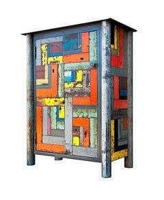 One Door Housetop Quilt Cupboard - Steel Furniture with Gee's Bend Quilt Design