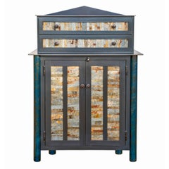 Found Galvanized Strip Quilt Cupboard with Chest of Drawers - Steel Furniture