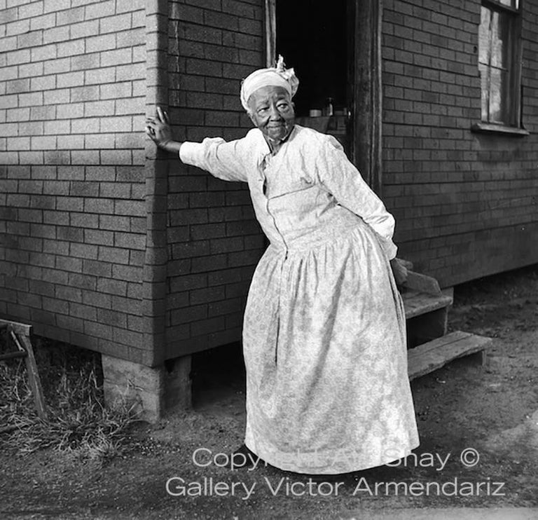 Art Shay Black and White Photograph - A Farm Grandma Waiting for Kids, 1951
