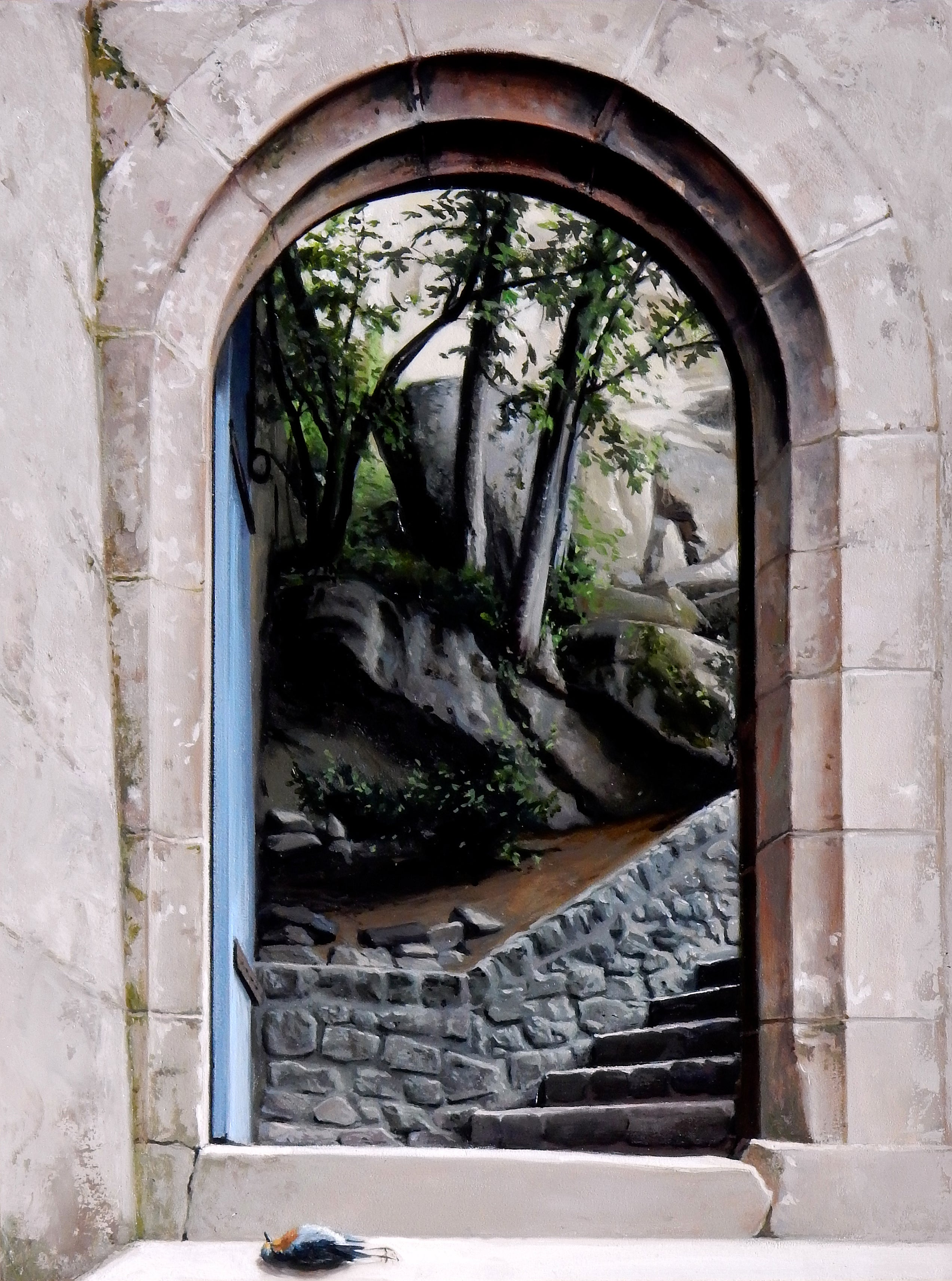 Bellagio Stairs - Arched Stone Doorway Leading to Wooded Landscape, Oil on Panel