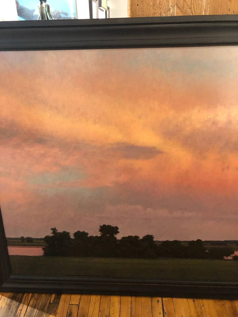 Thunderstorm Near Alton IL - Oil Painting on Panel of Midwest Landscape For Sale 9