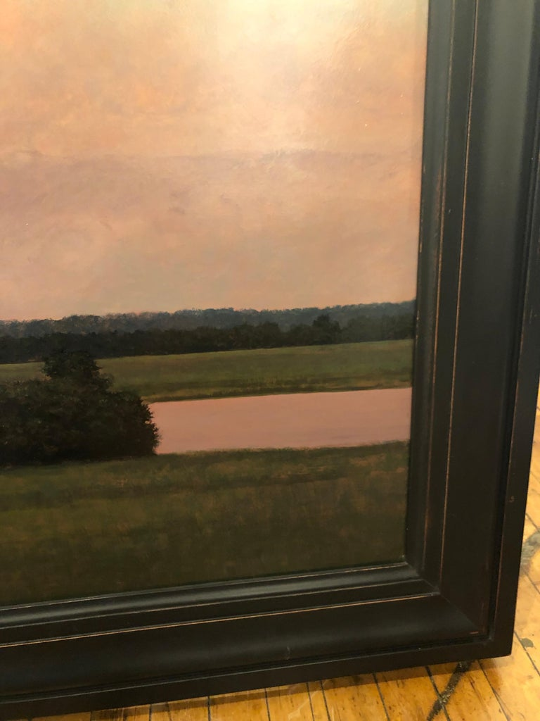 Thunderstorm Near Alton IL - Oil Painting on Panel of Midwest Landscape For Sale 5
