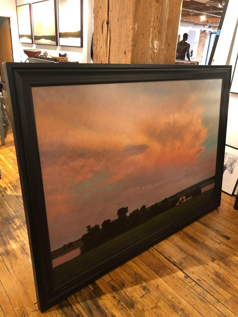 Thunderstorm Near Alton IL - Oil Painting on Panel of Midwest Landscape For Sale 8