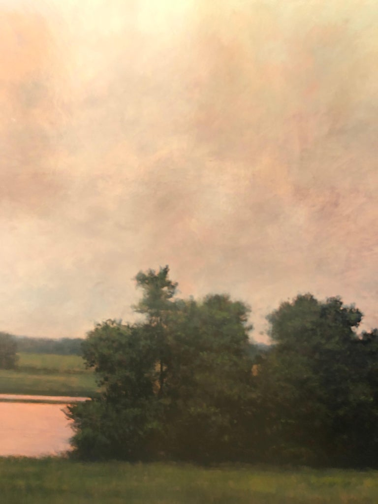 Thunderstorm Near Alton IL - Oil Painting on Panel of Midwest Landscape For Sale 4