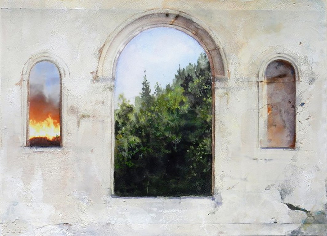 Arched Inferno - Architectural Study with Landscape, Collaged and Painted
