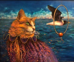 Tricks - Original Oil Painting, Anthropomorphic Scene with Cat and Seagull