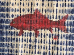 Red Buffalo on Navy Shibori Paper