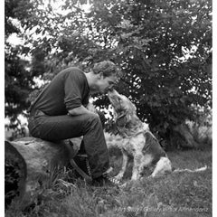 Marlon Brando Kissing Dog, Libertyville, IL 1950