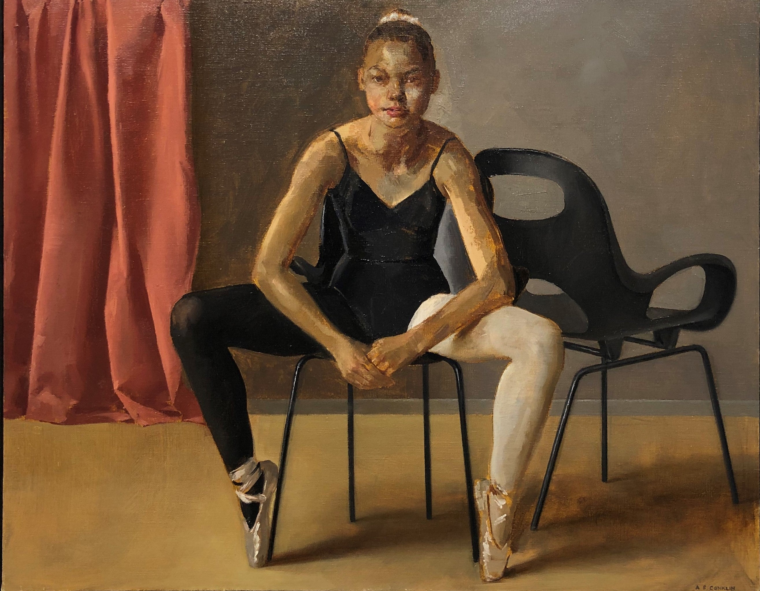 August in Leotard Seated on Oh Chair, Female Dancer, Original Oil on Panel