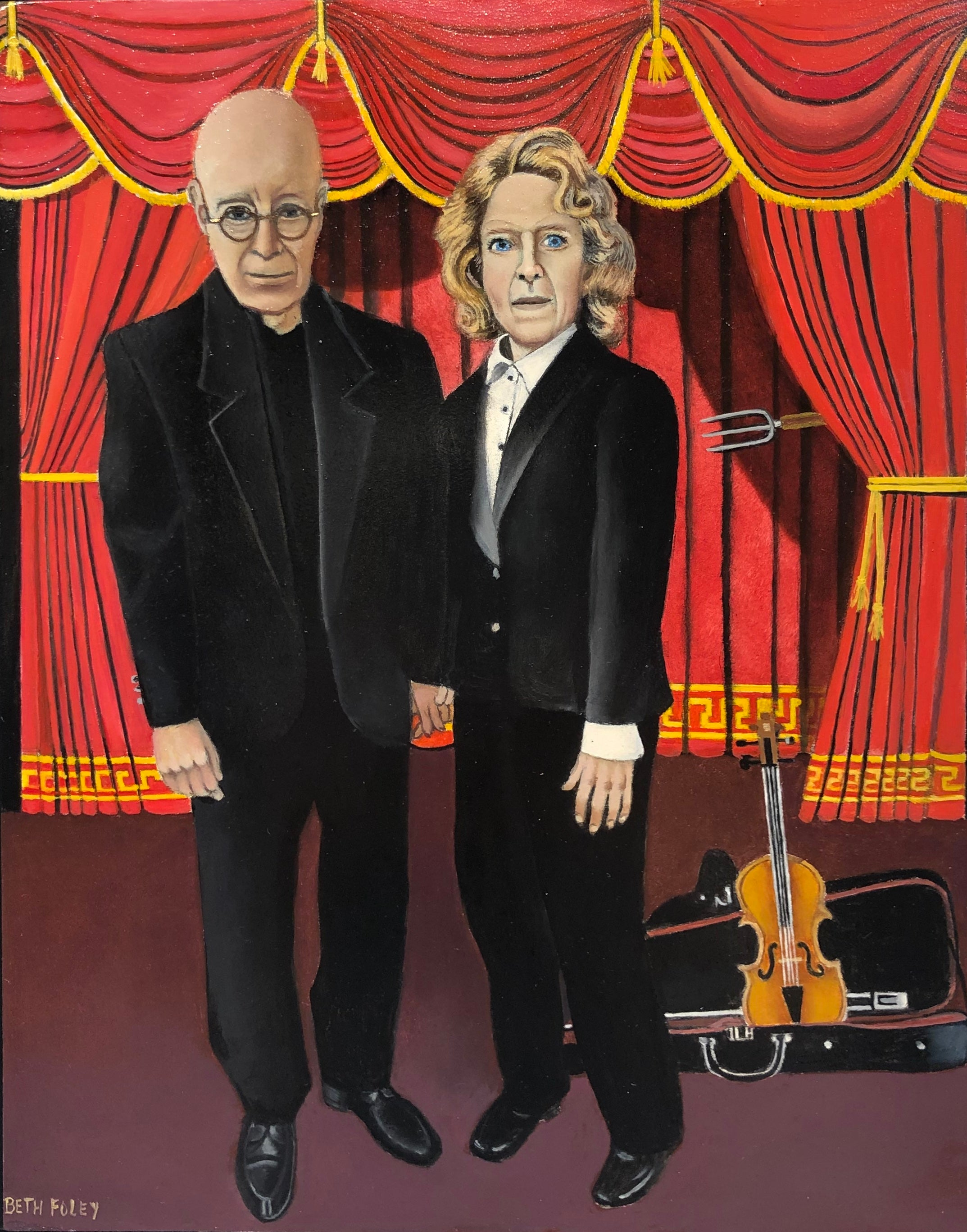 Highbrow American Gothic, Homage to Grant Wood, Original Oil on Panel, Framed
